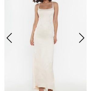 Cream silky maxi dress